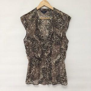 Reitmans leopard print ruffled blouse